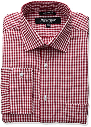 Stacy Adams Men's Big and Tall Gingham Check Dress Shirt, Red, 20