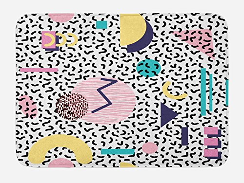 - Ambesonne 90s Bath Mat, Geometric Pattern in Retro Style with Round Half Moon Triangle Shapes Artwork, Plush Bathroom Decor Mat with Non Slip Backing, 29.5
