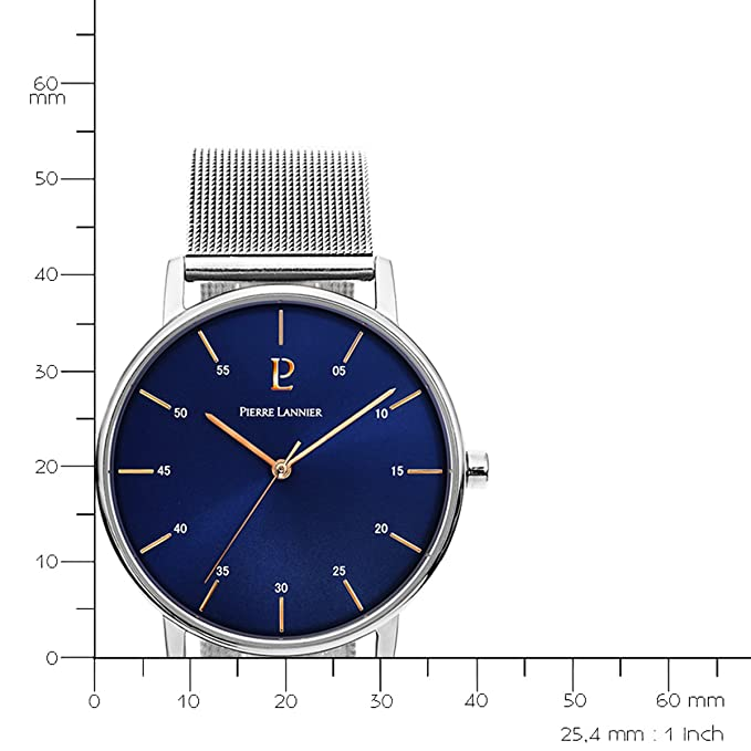 Mens Watch Pierre Lannier - 202J168 - ELEGANCE STYLE - Silver and Blue - Stainless Steel - Milanese Band | Amazon.com