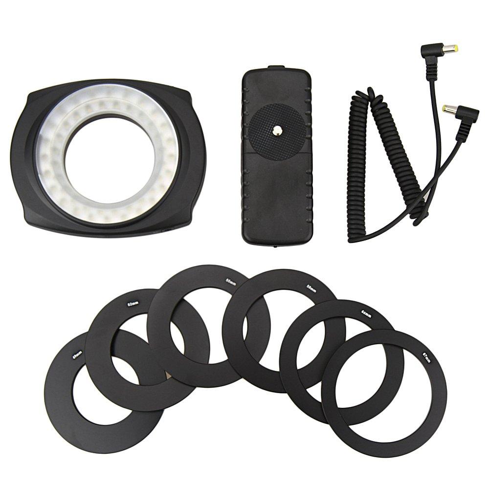 JJC LED-48IO Macro Ring Flash LED Light for 49MM/52MM/55mm/58mm/62MM/67MM DSLR Camera Lens by JJC