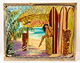 Come to Hawaii Metal Sign Framed on Rustic Wood, Surfing and Tropical Decor Wall Accent Review