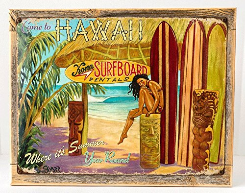 Come to Hawaii Metal Sign Framed on Rustic Wood, Surfing and Tropical Decor Wall Accent