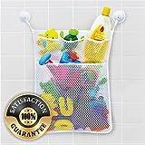 kids bathtub organizer - Eutuxia Bath Toy Organizer. Quick Dry Mesh Net Bag Bathtub Storage with 4 Pockets for Kids Toys and Bathroom Essentials. Includes 4 Lock Tight Suction Hooks. Mold Resistant & BPA Free. [19.76