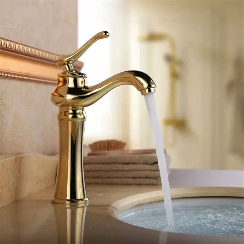 Good quality Antique Basin Sink Mixer Tap All copper home single hole cold and hot-water faucet basin faucet bathroom Single-console basin a water faucet