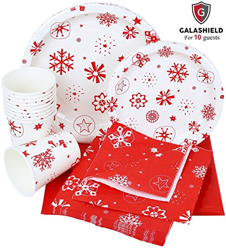 Galashield Christmas Disposable Dinnerware Set Supplies for 10 Guests Includes Paper Plates, Cups, Napkins, and Tablecloth (Disposable Christmas Plates)