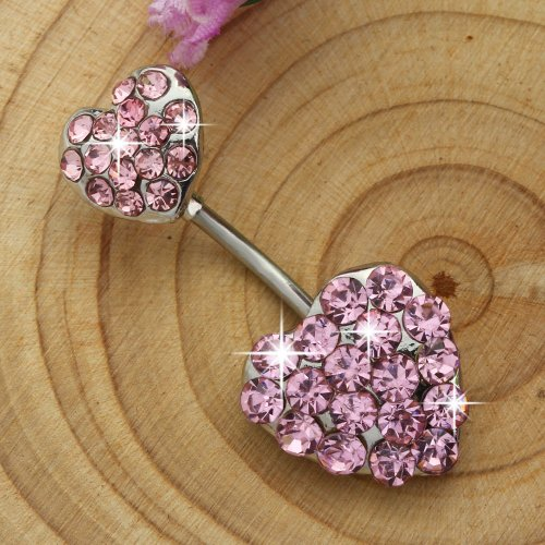 ANDI ROSE Body Jewelry Crystal Double Heart Plugs Belly Button Rings Bars Body Piercings (Pink)