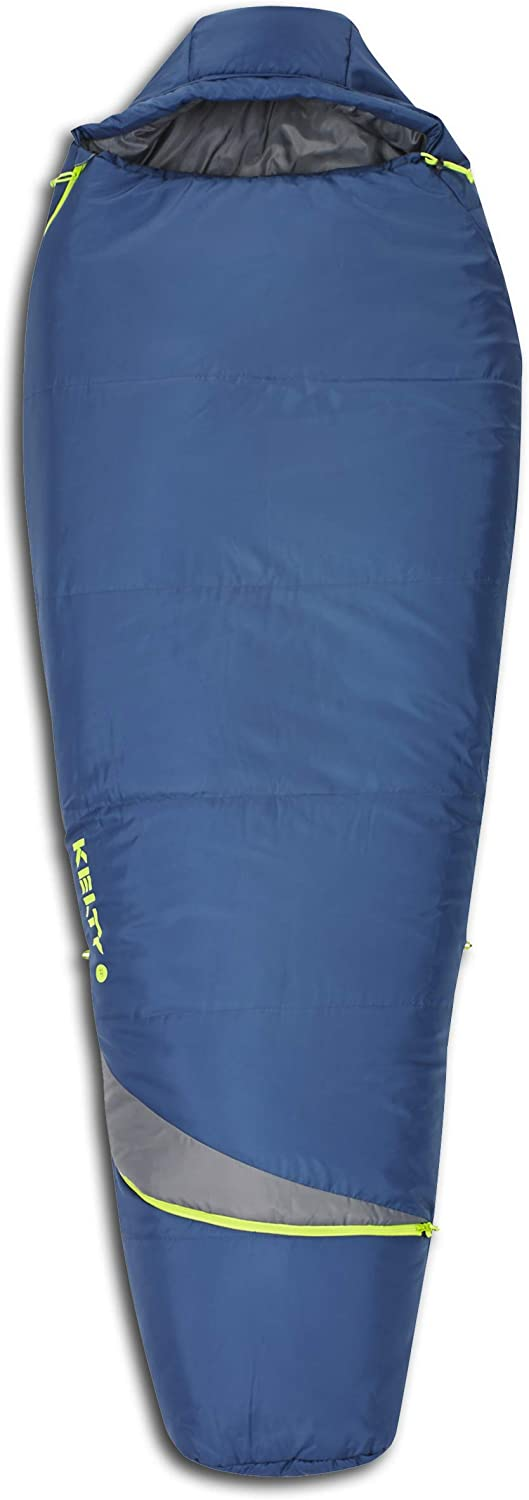Kelty Tuck 22F Degree Mummy Sleeping Bag 3 Season Ultralight Sleeping Bag with Thermal Pocket Hood, Zippered Opening in Footbox. Lightweight Traveling Backpacking Tent Hammock Camping Sleep System Stuff Sack Included