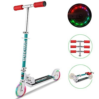 Tomasar Kid Scooters Foldable Mini Kick Scooter Aluminum Deluxe Light Up Wheels for Girls Boys : Sports & Outdoors