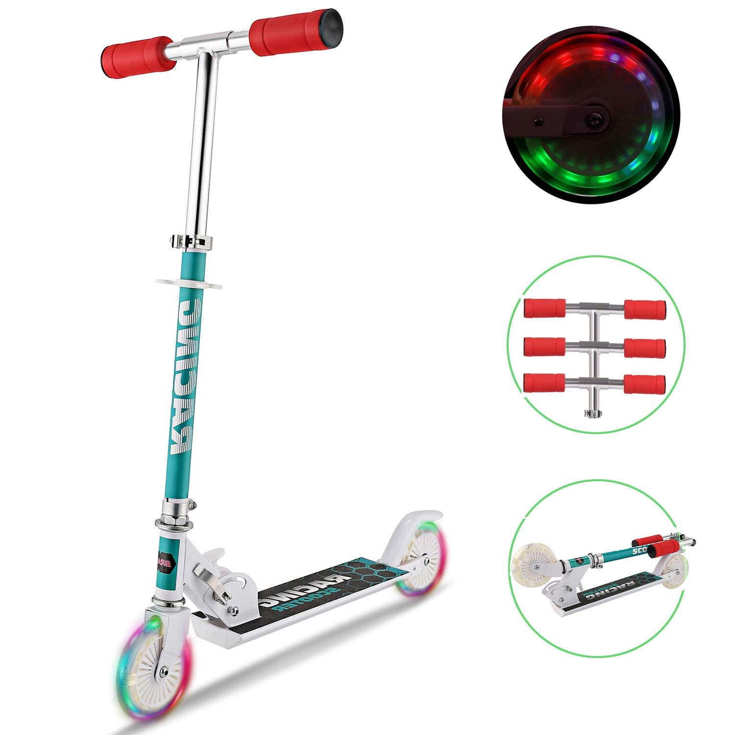Tomasar Kid Scooters Foldable Mini Kick Scooter Aluminum Deluxe Light Up Wheels for Girls Boys, Ages 2-8 (US Stock) (White) by Tomasar