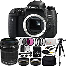 Canon EOS 760D/T6s DSLR Camera Body with EF-S 18-135mm f/3.5-5.6 IS STM Lens+ 32GB Bundle + 15PC Accessory Kit