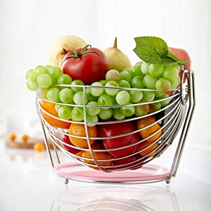 DSDD Fruit Basket European Creative Home Fruit Plate Living Room Decoration Fruit Storage Tray Large Stainless Steel Food Container 18.5x25.5x26.5cm Beautiful and Practical Fruit Tray