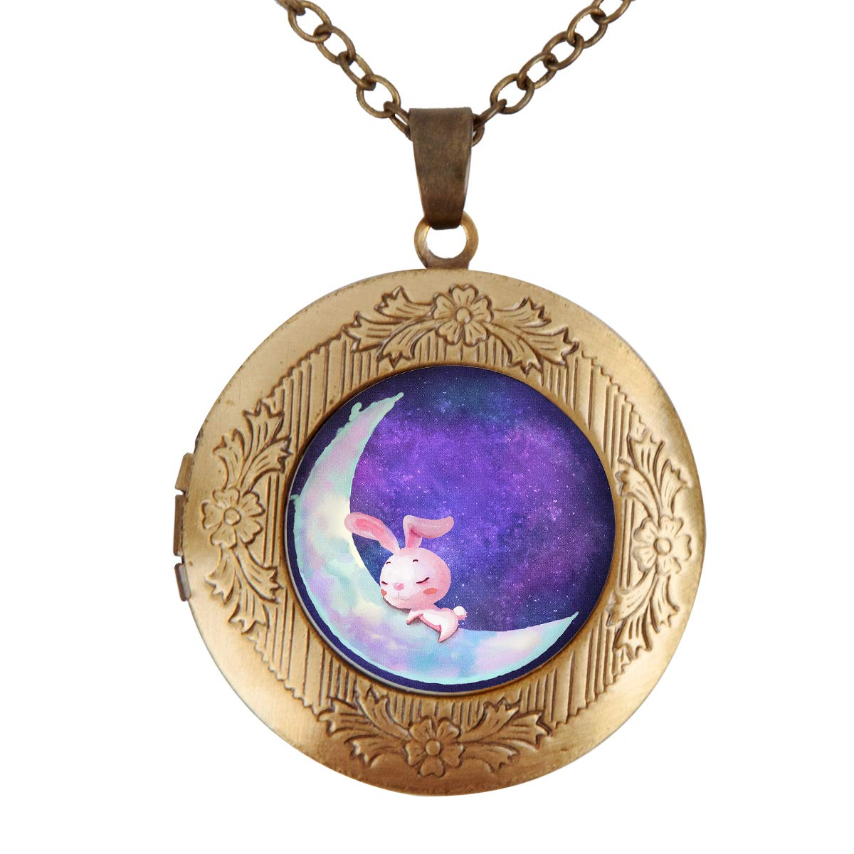 Fangship Pink Rabbit Locket Pendant Stainless Steel Necklace Round Box Chain Jewelry for Women Girl Boy Men 1.18 Inch Includes Adjustable Length Cable Chain