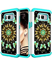 for Samsung Galaxy S8 Glitter Phone Case,QFFUN Soft Silicone Hard Plastic Back Hybrid Double Layer 2 in 1 Bling Crystal Diamonds Anti-Scratch Protective Cover with Screen Protector - Green Butterfly