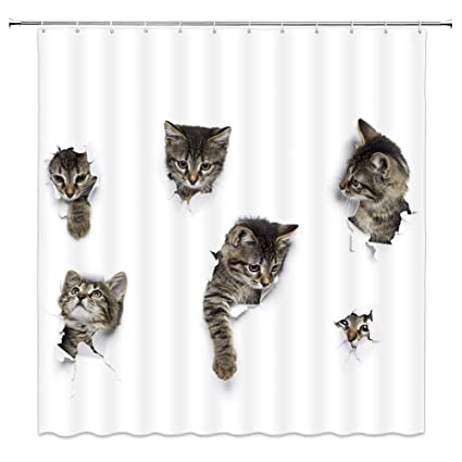 Image Unavailable Not Available For Color Feierman Animal Funny Cat Shower Curtain