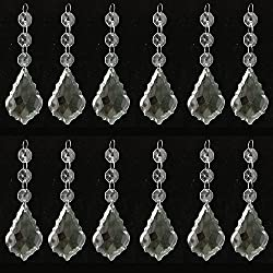 Fuming Pack of 12 Hanging Clear Crystal Glass Icicle Prisms Pendants for Chandelier,Candelabra,Ceiling Lights ,Wedding Display Decoration