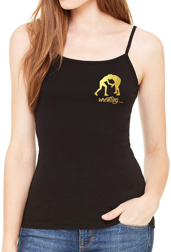 Interstate Apparel Inc Junior's Gold Foil Wrestling Emblem Black Spaghetti Strap T-Shirt Medium Black by Interstate Apparel Inc