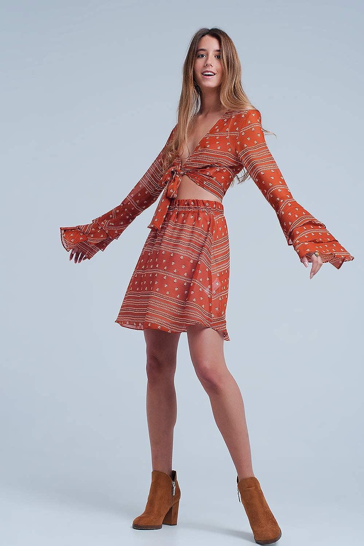 Q2 Mini Falda Color Caldera con Estampado Variado, Naranja, M ...