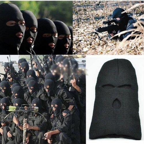 (Generic Black Knit 3 Hole Ski Mask BALACLAVA Hat Face Shield Beanie Cap Snow Winter Warm)