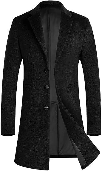 iCKER Mens Trench Coat Winter Wool Blend Jacket Overcoat Long Top Coat Warm  Pea Coat at Amazon Men's Clothing store