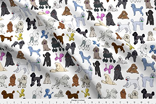 Spoonflower Dogs Fabric - Dogs Poodles - by Creativeworksstudios Printed on Lightweight Cotton Twill Fabric by The Yard -