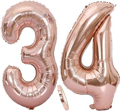 """Or Rose géant numéro FOIL âge Ballons Anniversaire 34/"""" tous les Combos Inc 16,18,21"""