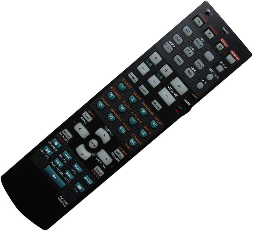 Hotsmtbang Replacement Remote Control for Yamaha RAV326 WJ194400 RAV327 HTR-6060 HTR-6060BL HTR-6080 RX-V611 RX-V661 7.1-Channel Digital Home Theater AV A//V Receiver