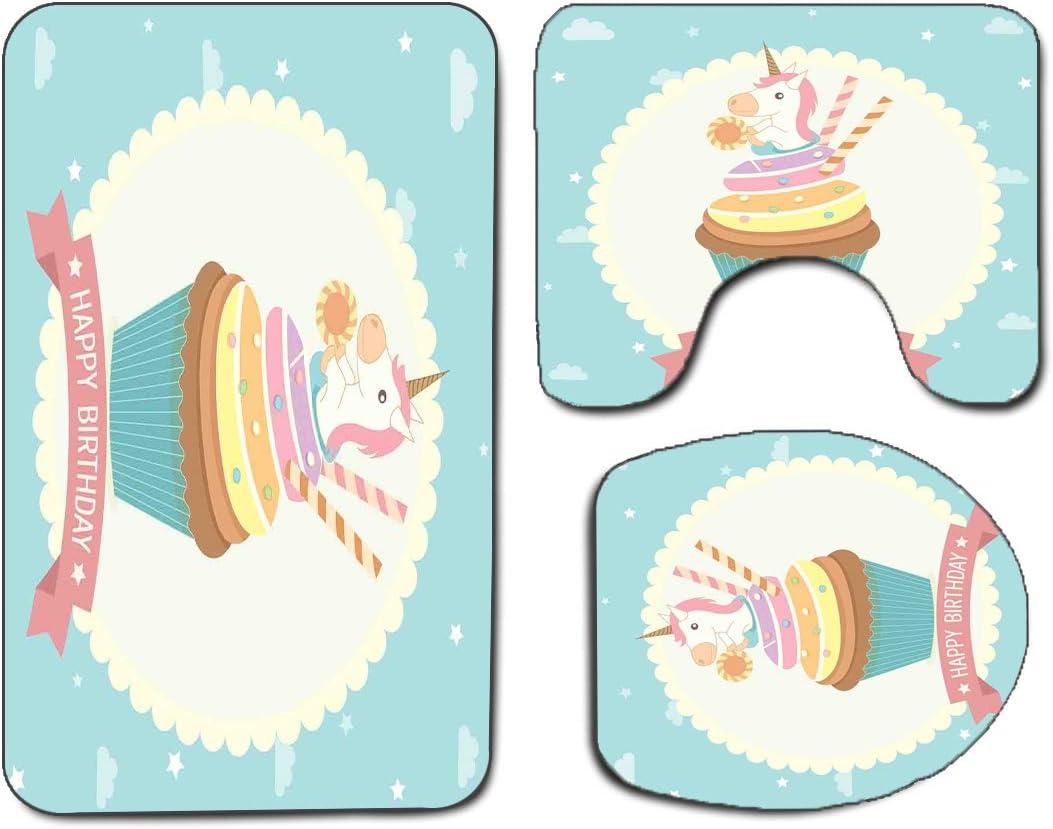3Pcs Non-Slip Bathroom Rug Toilet Seat Lid Cover Set Forest Soft ...