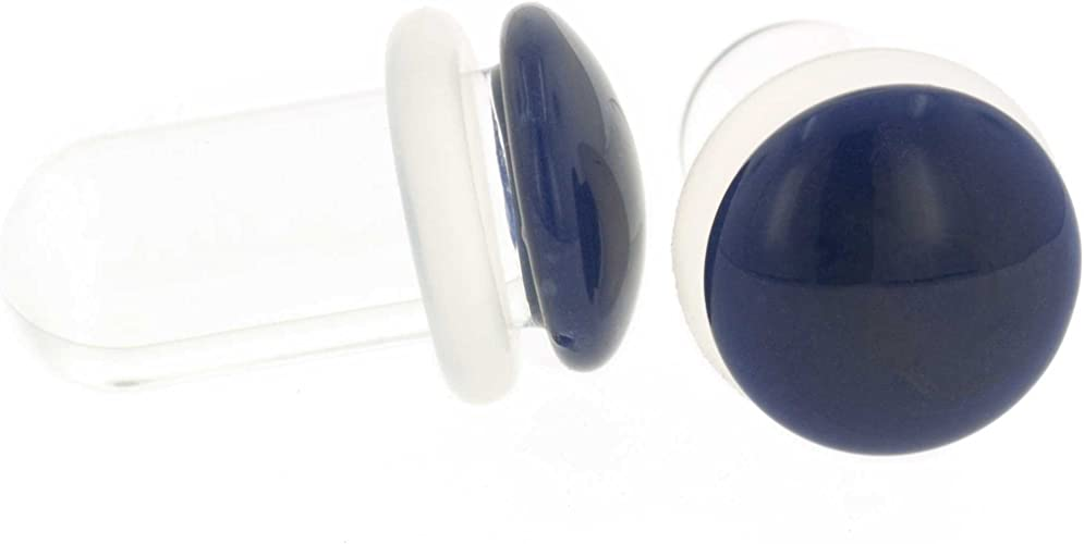 Pair of Glass Double Flared Color Front Plugs 12g White