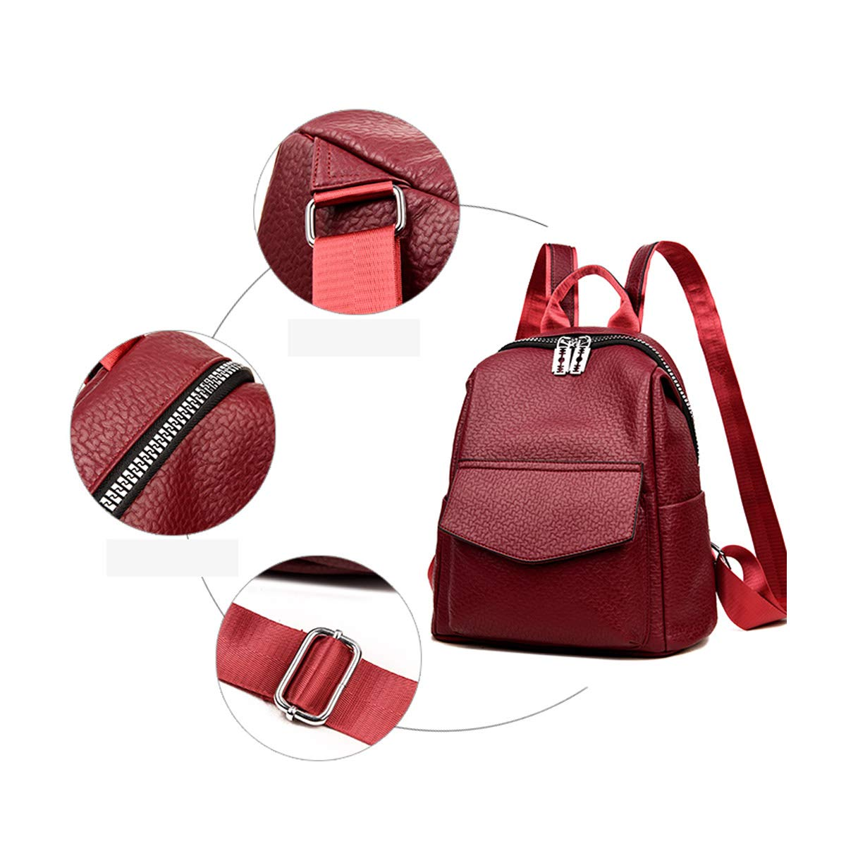Black//red Color : Red, Size : 31cm32cm15cm PU Leather Haoyushangmao Girls Multifunctional Backpack for Daily Travel//Tourism//School//Work//Fashion//Leisure Stylish Large Capacity