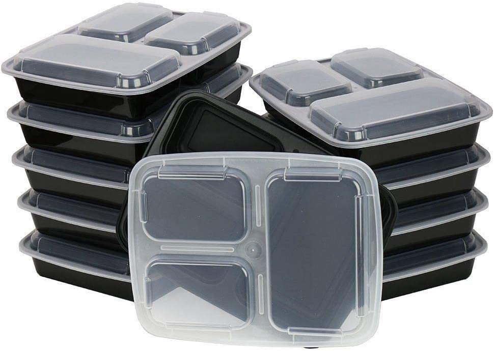 TSHomeGoods Meal Prep 3 Compartment Food Storage Containers / Microwaveable/ Freezer Proof/ Take Out/ (20 Pack)