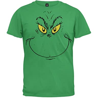 87f2929721a Amazon.com  Dr. Seuss - Grinch Face Youth T-Shirt  Clothing