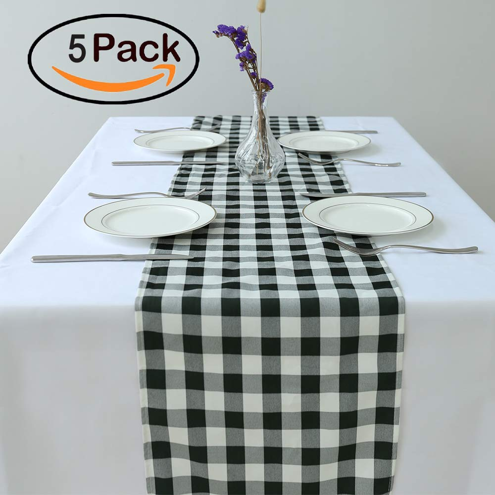 Everyday Use Zdada 1Packs of 14x108-inch Black and White Buffalo Check Table Runner for Dinners,Indoor or Outdoor Parties