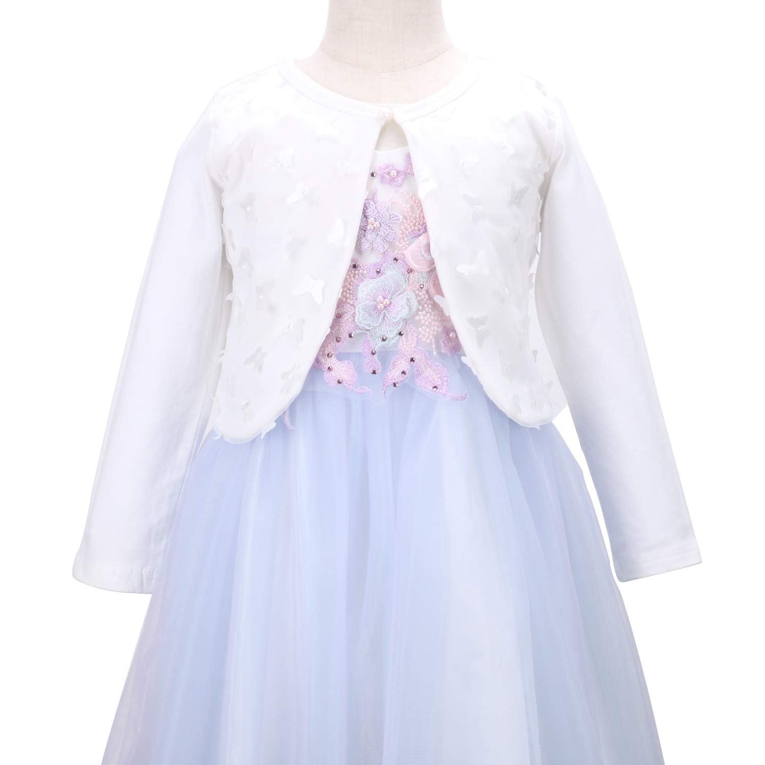 Girls Long Sleeve Cardigan Bolero Jacket 3D Butterfly Short Shrugs Shawl Dress Cover up 1-8Y