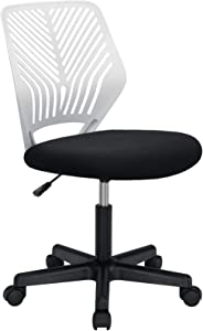 BOSSIN Kids Desk Office Chair for Teens Computer Mesh Chair with Low-Back Armless Adjustable Swivel Ergonomic Home Office Student Chair Black White(White-FBA)