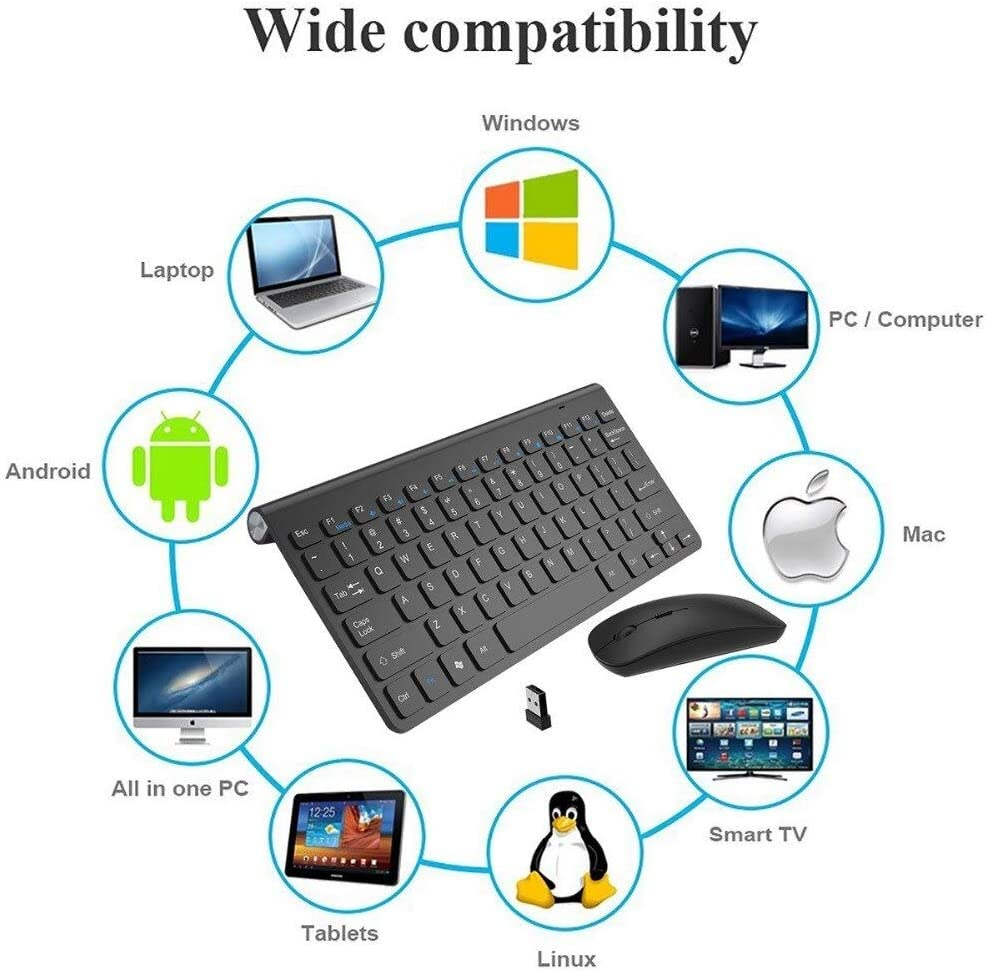 Color: Rose Gold Calvas New Thin Wireless keyboard mouse 2.4G keyboard Mouse combo and 2.4G USB Receiver for Macbook,Computer PC,Laptop and TV BOX