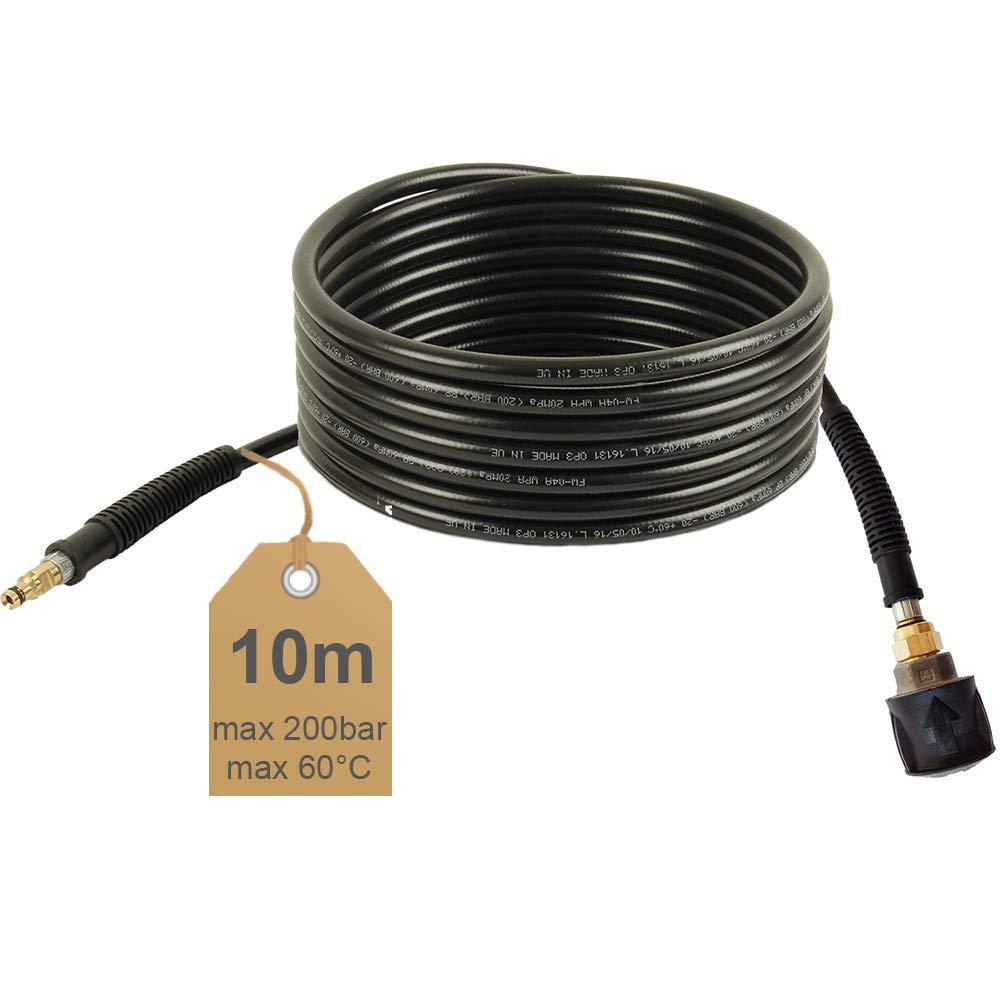 Hochdruckschlauch-Verlängerung | 10m, 200bar, 60°C, Quick Connect, NW 6x1 | geeignet für Kärcher Hochdruckreiniger 60°C McFilter