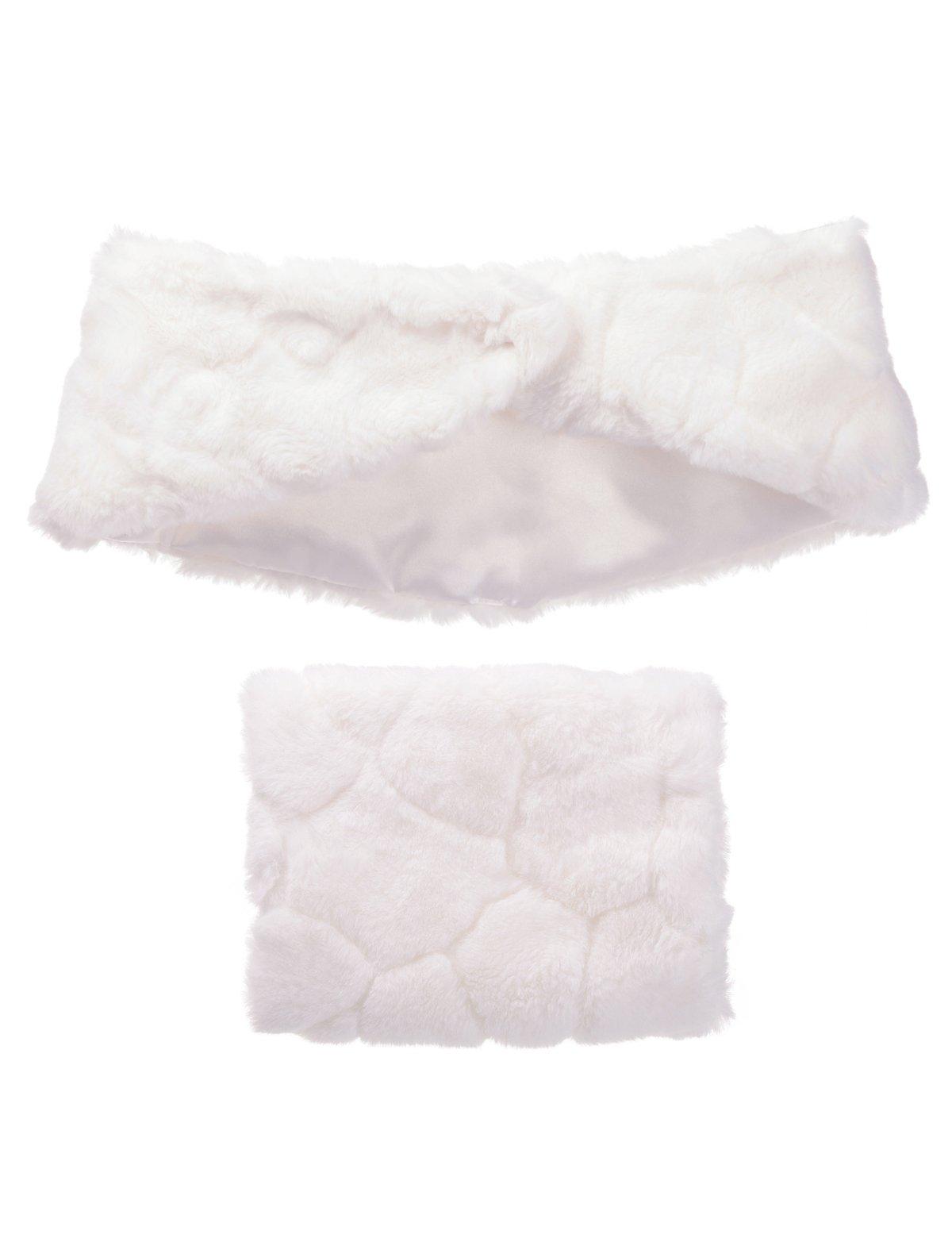 Remedios Flower Girl Faux Fur Wrap Shawl and Handmuff Wedding Party Accessory, S