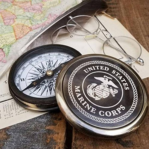 Best Christmas Gift Engraved Brass Antique Marine Corps Compass by NAUTICALMART