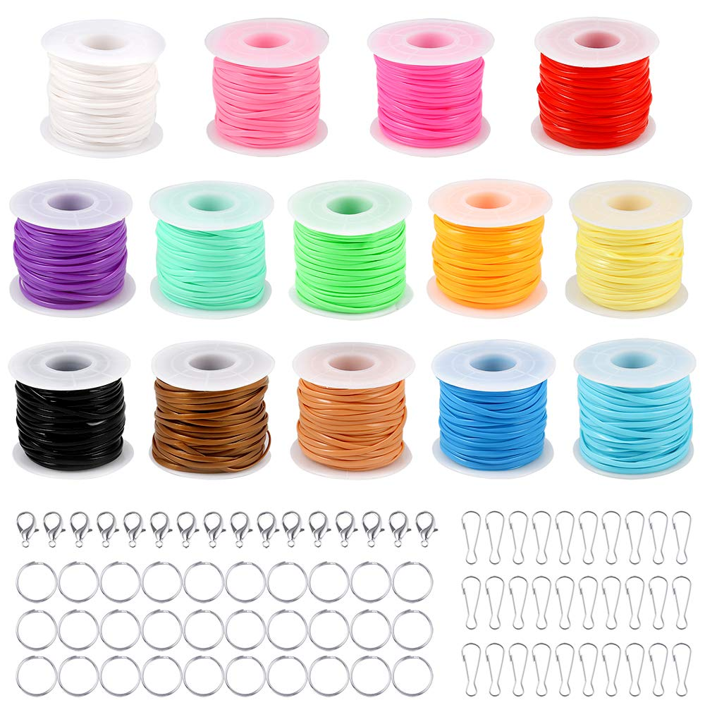 PP OPOUNT 14 Colors Gimp Bracelet Scoubidou String Plastic Lacing Cord with 30 Pcs Snap Clip Hooks, 30Pcs Key Chain Ring Clips, 20 Pcs Lobster Clasps for Friendship Bracelets, Jewelry Making DIY Craft by PP OPOUNT