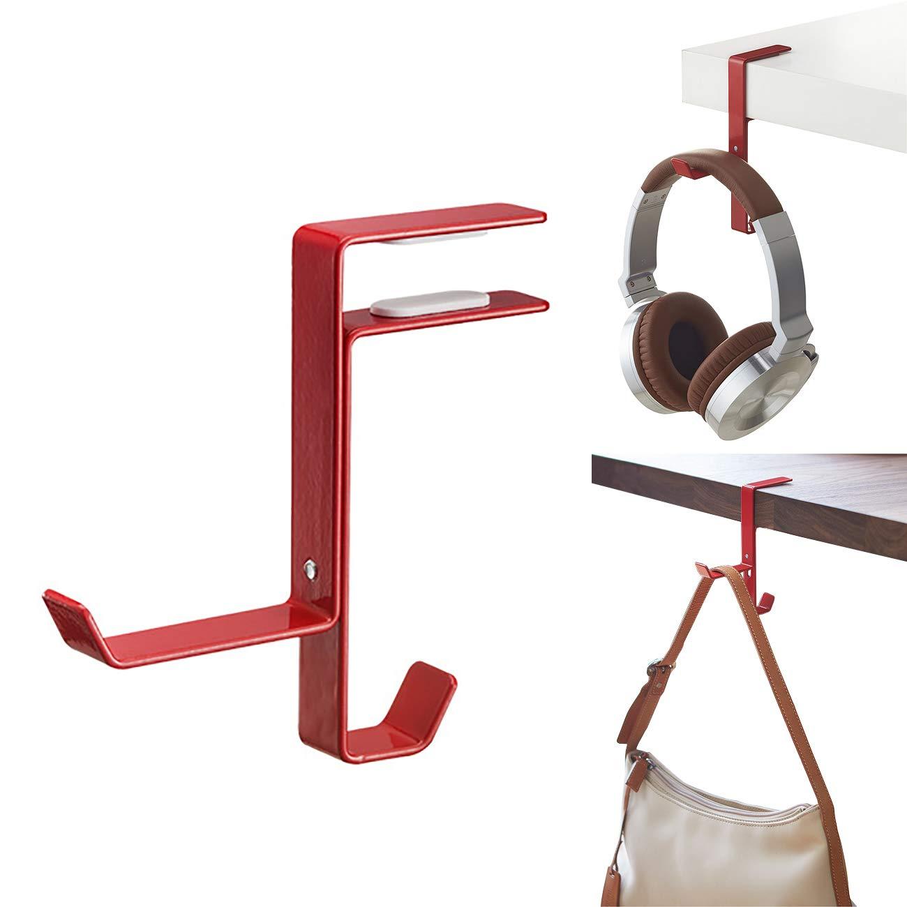 Oriolus メタルヘッドホンハンガー ヘッドセットフックホルダー 調整可能なクランプ付き デスク用 レッド  レッド B07RP76K7N