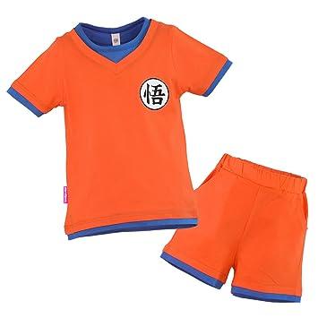 Niños Disfraz Camiseta T-Shirt Shorts para Bola del Dragón Son Goku Traje de Entrenamiento Ropa Sudadera (130 (EU122))