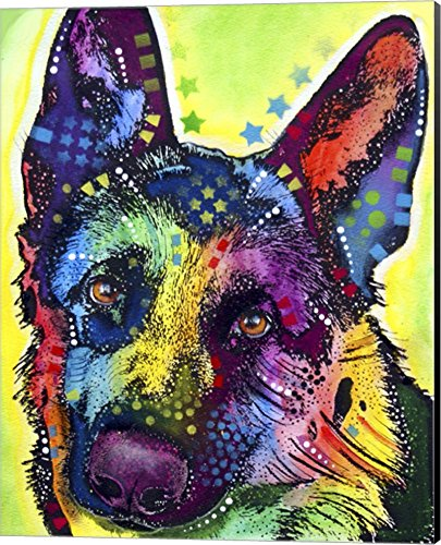 German Shepherd 1 by Dean Russo Canvas Art Wall Picture, Museum Wrapped with Black Sides, 16 x 20 inches