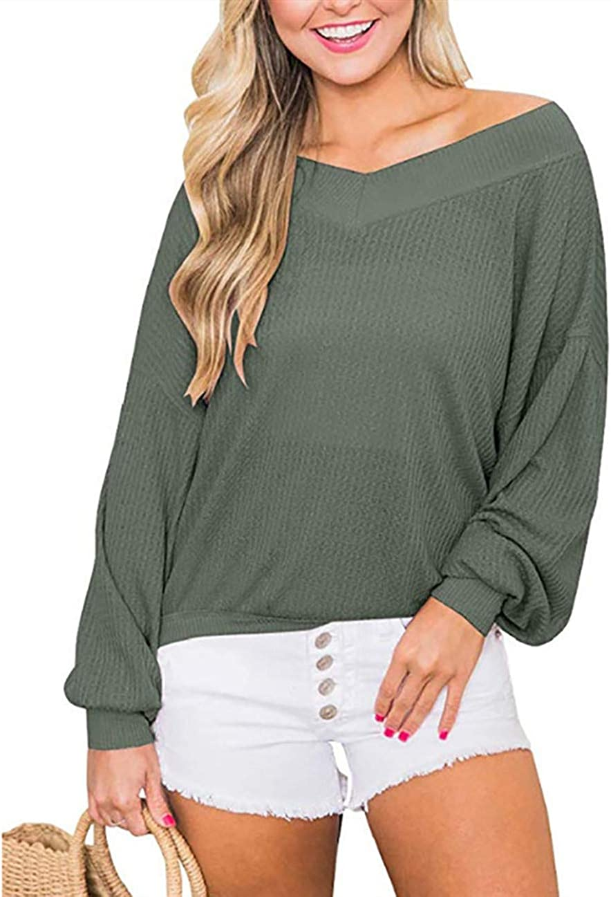 Kelove Womens Waffle Knit Long Sleeve v Neck Off-Shoulder Tops,Solid Color Pullover Sweaters