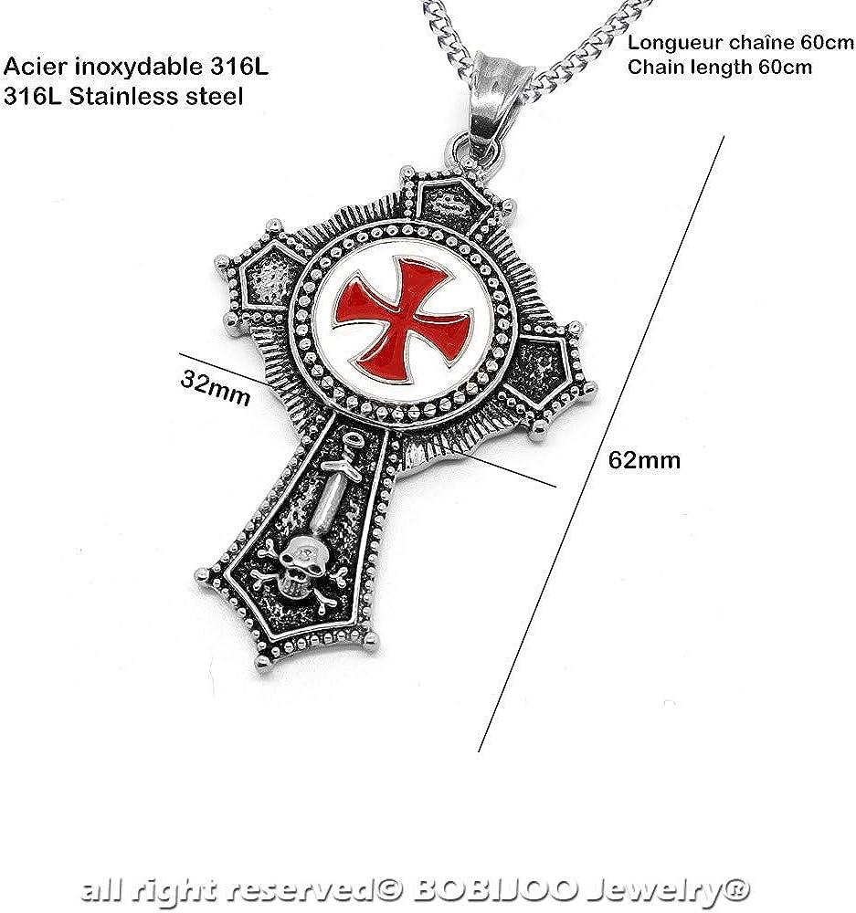 M/édaillon Pendentif Homme Ordre des Templiers Religieux Acier Croix Patt/ée Rouge Cha/îne BOBIJOO Jewelry