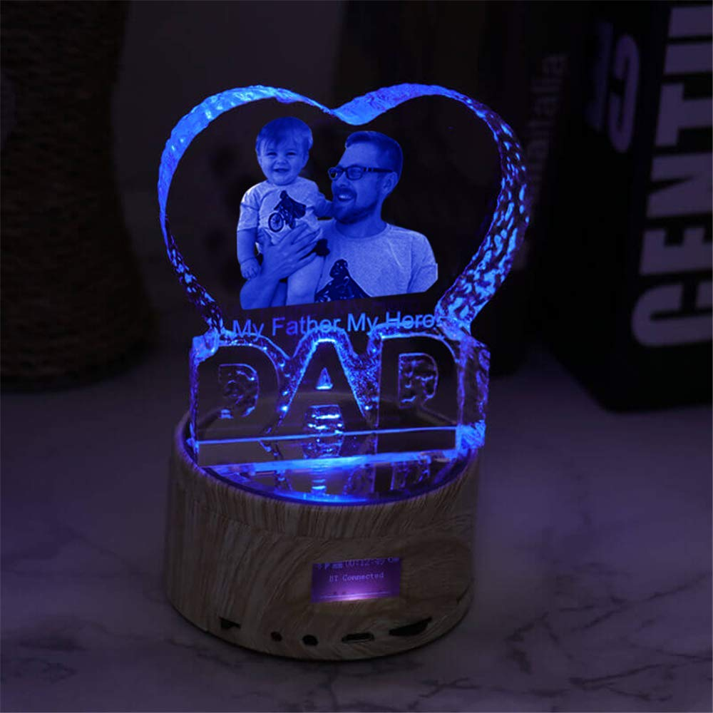 Father Day Personalise Engraved Crystal 3D Dad Colorful LED Light Music Box Bluetooth Base 6 Color Lights Gradient by prodigal (Image #3)