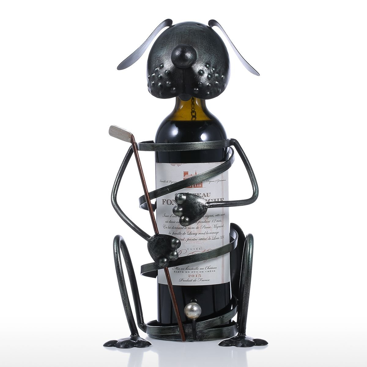 Tooarts Puppy Metal Wine Rack with Golf Iron Dog Wine Bottle Holder Statue Ornament