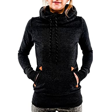 Begonia.K Women's Funnel Neck Hoodie Lightweight Pullover Hooded ...