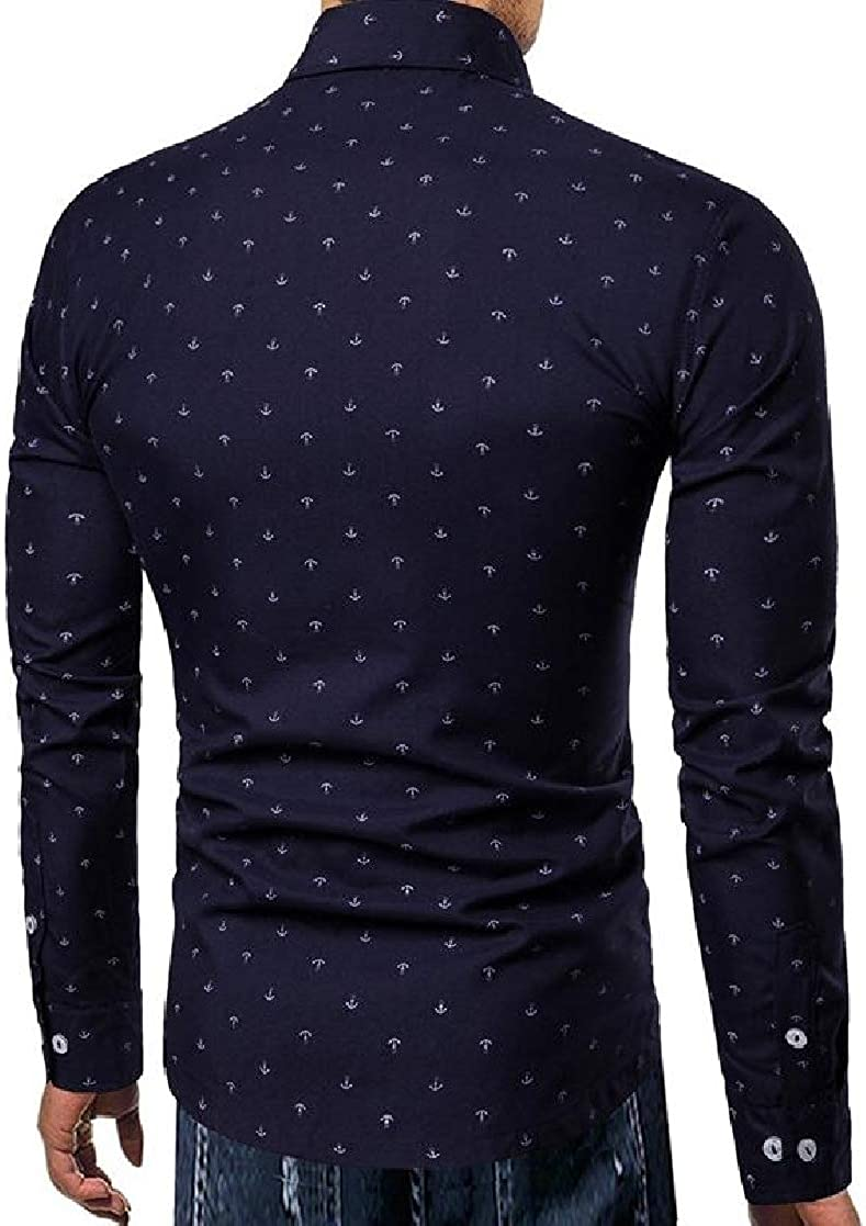 Macondoo Mens Slim Fit Button Up Anchor Print Classic Fit Long Sleeve Shirts