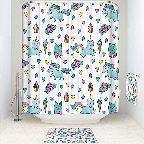 Clev Slip Hook - iPrint Polyester Fabric Bathroom Shower Curtain Set with Hooks,Hearts Stars Flowers Ice Cream Cute Funny,Light,3pcs Set with Shower Curtain Bath Towel Non-Slip mat for Home Decor Bathroom