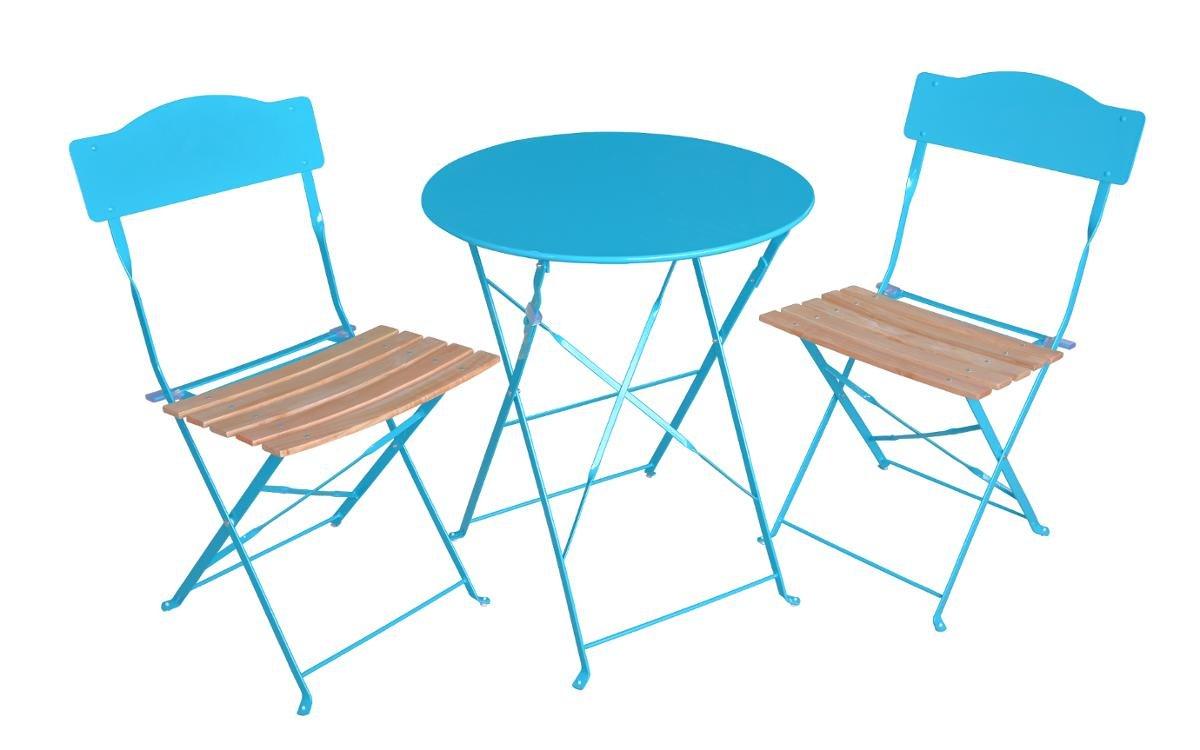 Ensemble 3 pièces pour terrasse : 1 table ronde + 2 chaises - Style bistrot - Coloris BLEU Lagon
